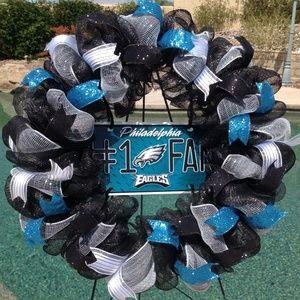 Nfl Philadelphia Eagles Deco Mesh Wreath Handmade